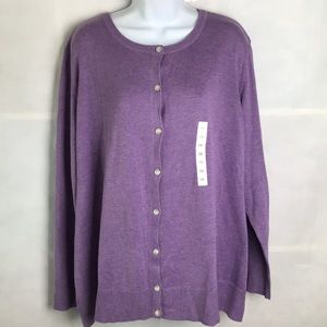 NEW Purple button front Cardigan sweater Plus 3x